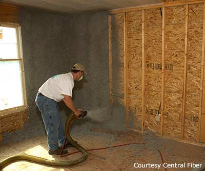 Tips on installing cellulose insulation as do it yourself diy insulation contractor blowing in cellulose insulation into a wall solutioingenieria Choice Image