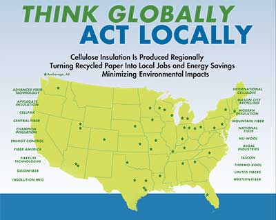 CIMA - Cellulose Insulation Manufacturers - Think Globally Act Locally Producers Map