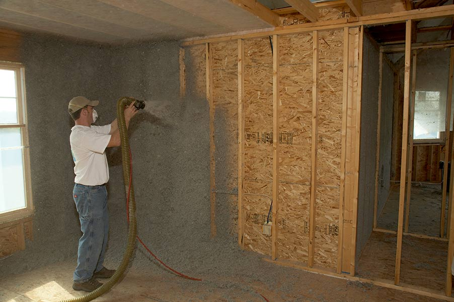 Sprayed Moisture Added Cellulose Insulation An Effect Way To Get Tightly Sealed Wall Cavities